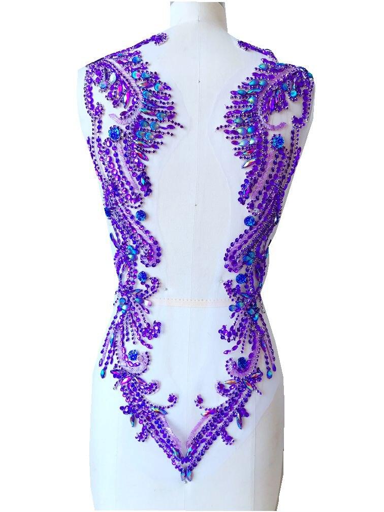 Coudre sur strass violet applique sur maille à la main cristal garniture patchs pour accessoire de robe 62*39 cm
