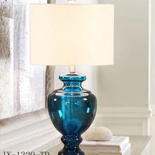 TUDA светодиодный настольный светильник из голубого стекла, настольная лампа для гостиной, спальни, Кабинета из кованого железа, настольная лампа E27 110 В 220 В