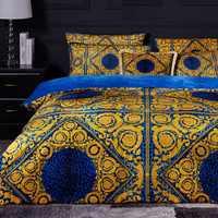Haut de gamme luxe Royal français italie Design Rococo roi reine taille café couleur dorée zèbre imprimé léopard ensembles de literie de mariage
