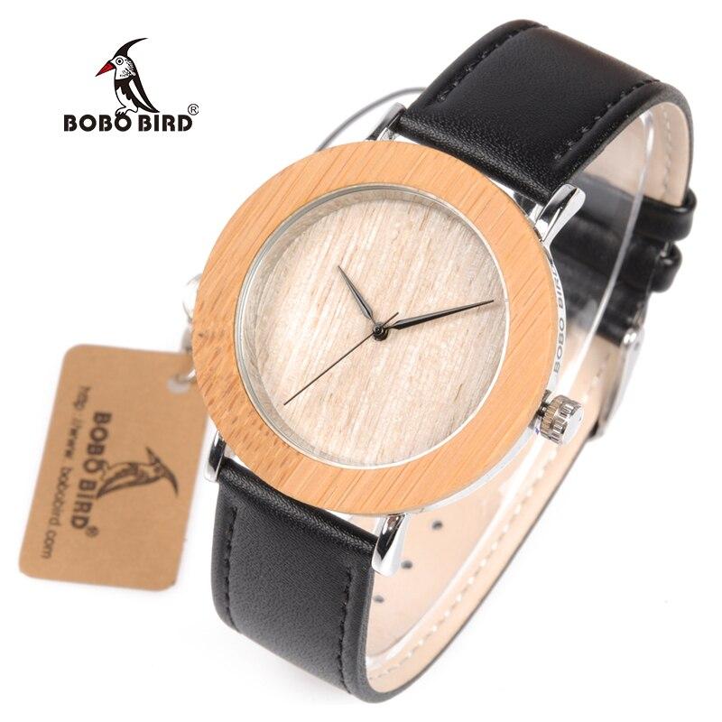 BOBO BIRD WA07 Brand Design Simple Style Bamboo Metal Case Watch For Men Women Fashion Accessory