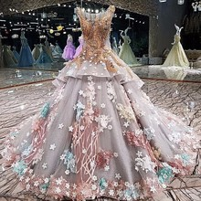 Evening Party Gowns Luxury Gray Ball Gown Applique Lace 3D Flowers Evening  Dress 2018 Vestido De 86c9f2012ef4