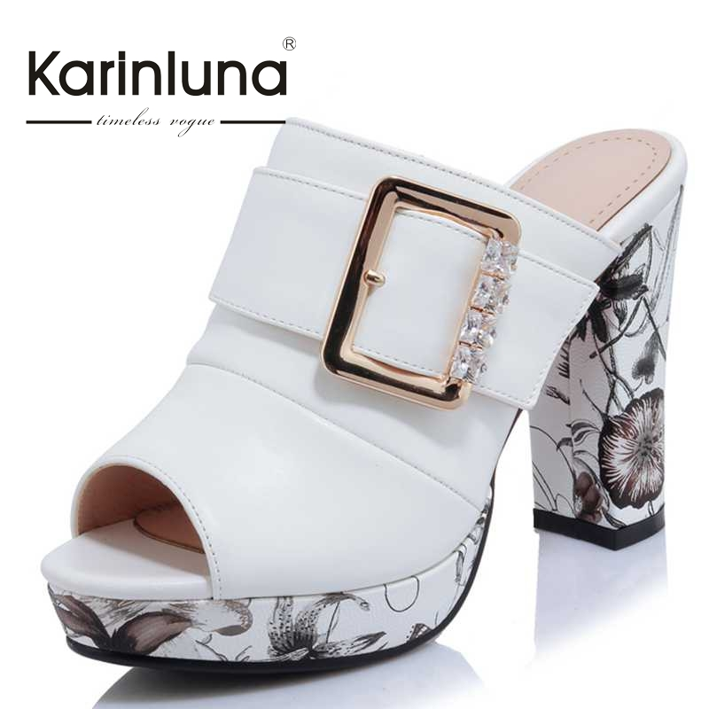 KarinLuna Big Size 32-42 Fashion Women Bohemia Flower Print High Heel Summer Shoes women Party Wedding Open Toe Platform Sandals pair of gorgeous beads triangle earrings for women