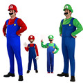 Free shipping Halloween party  Adult Kids Super Mario Luigi Bros Fancy Dress Plumber Game Costume Mens Boys New