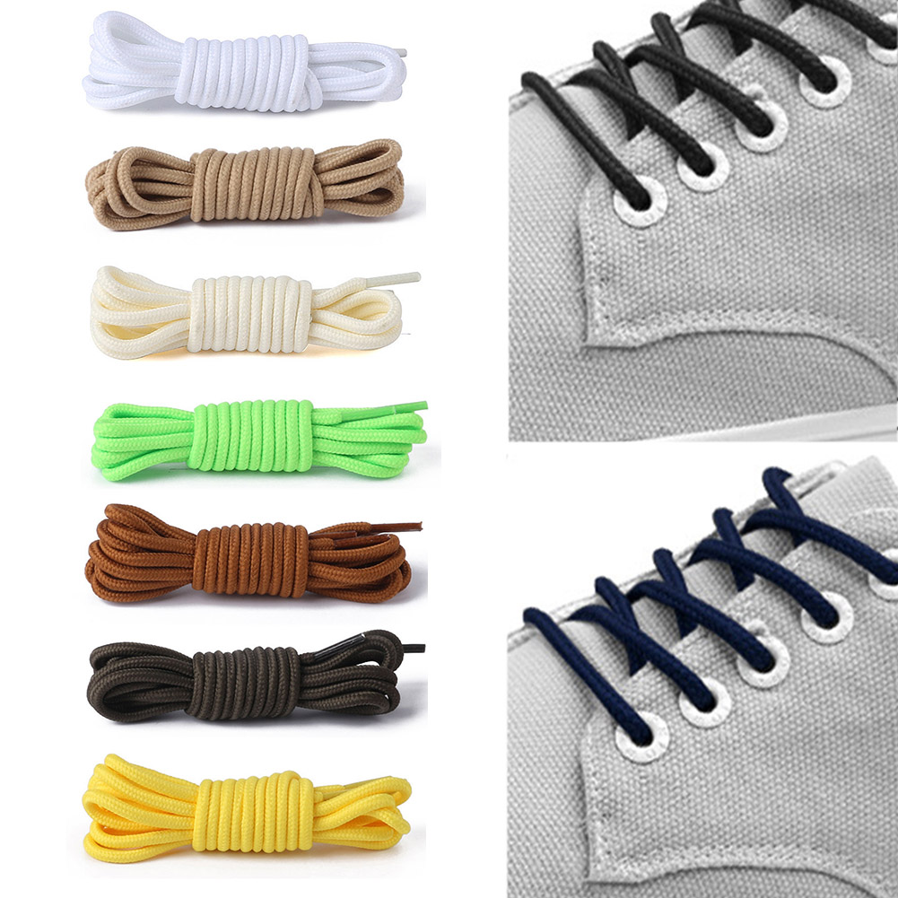 1 Pair Round Solid Shoelaces Top Quality Polyester Shoes Lace Solid Classic Round Shoelaces For Sneakers Boots Shoes Strings