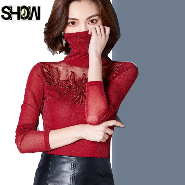 016aa9c45b627a Winter Basic Shirts New Hot Sales Women Flower Design Tops Long Sleeve  Elegant Office Lady Work Red Sexy Mesh Turtleneck Blouse