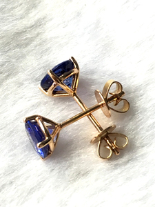 Image 4 - Natural tanzanite rose gold earring, 18K rose gold, rare tanzanite in round 6mm*6mm , classical style, fashion and popular