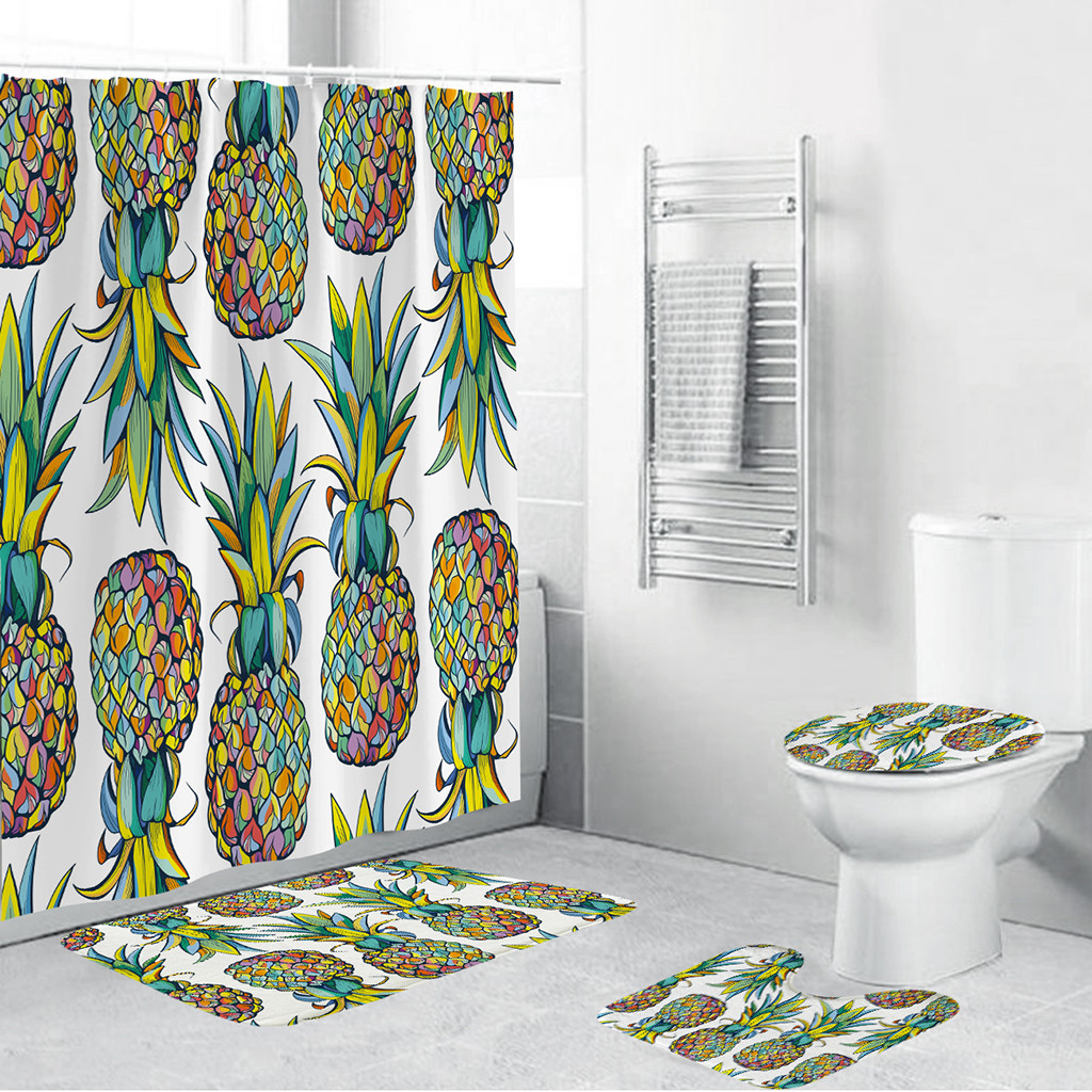 Butterfly Pattern Bathroom Curtain Set Made With PVC Mesh Bottom For Bathroom Decorate 1