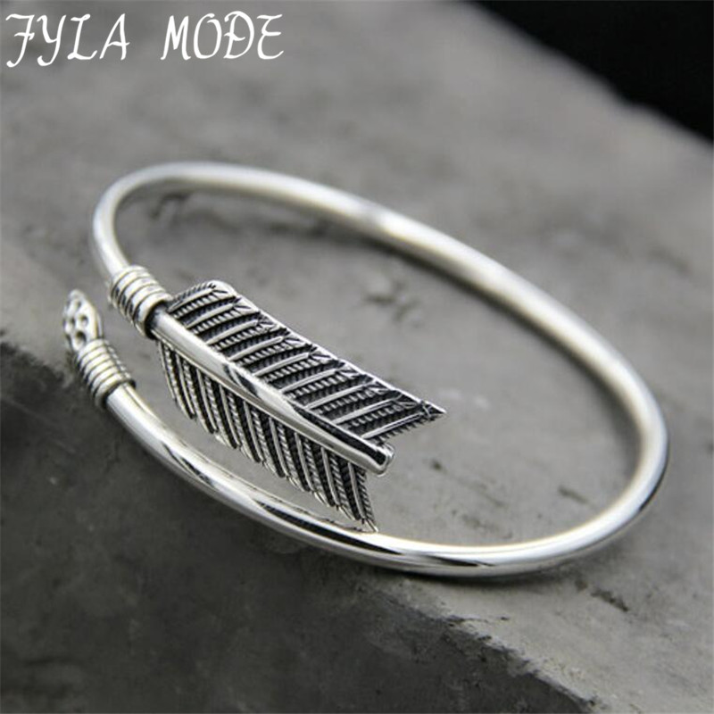 New Arrival 925 Sterling Silver Opening Bangles for Women Arrow Shape Complicated Cuff Bangle Bracelet Brand Fine Jewelry PBG002 все цены
