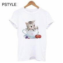 Kawaii Women T Shirt Summer White Female Tee Shirt Cute Cup Cat Printed Short Sleeve T-shirts Modal Basic Hipster Mujer Tops