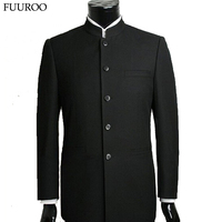 Men Suit Sets Chinese Tunic Suits Stand Collar Classic Black Male Suit Sets Free Shipping Y0470