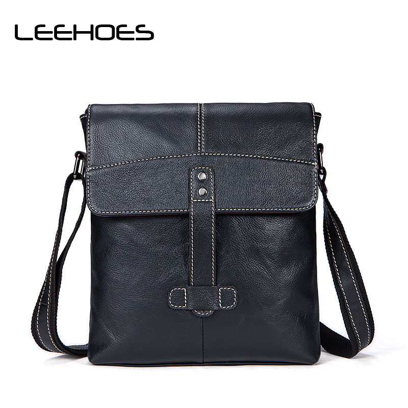 New Fashion Mens Genuine Leather Messenger Bags Small Ipad Bag Vintage Casual Style High Quality Man Shoulder Crossbody Bags