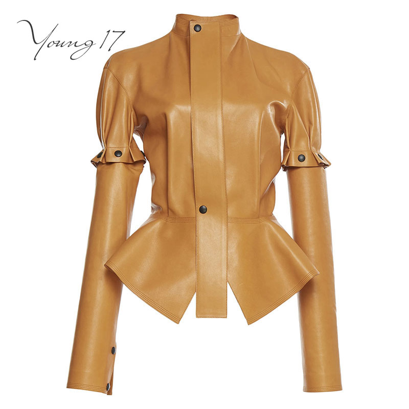 Young17 women PU jackets spring fashion slim solid brown falbala patchwork button stand collar long sleeve women jackets coats