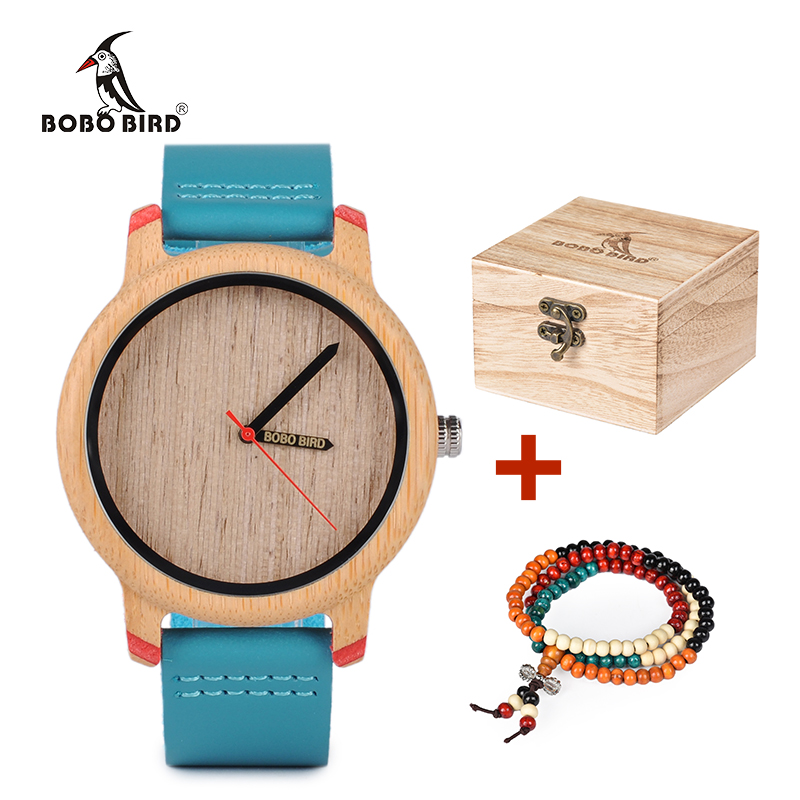 BOBO BIRD Simple Bamboo Wood Watch for Couple Turquoise Blue Band Quartz Watches Women bayan kol saati