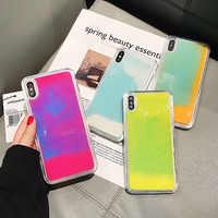 Étui pour iphone XR XS max X 6 7 8plus lumineux couleur néon sable solide brillant dans le noir liquide paillettes Quicksand housse de téléphone