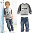 BCS187 fall boy denim car costume cartoon boy costume boy clothes gentleman suit kids car long sleeved shirt + denim trousers