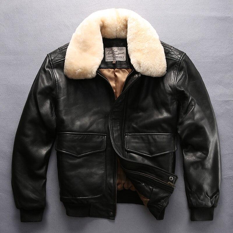 Avirex fly air force volo giacca di pelliccia collare di cuoio genuino uomini giacca di pelle di pecora nera del cappotto di inverno bomber giacca maschile