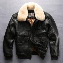 Avirex fly air force veste de vol col en fourrure veste en cuir véritable hommes noir en peau de mouton manteau hiver bomber veste homme