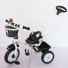 Portable Ride On Car Children's Tricycle Bicycle Bike Hand Push Three Wheels Stroller Child Tricycle Baby Trolley Cart Trike child tricycle stroller bicycle 1 3 5 years wheelchair functional three wheels stroller 3 in 1 pram baby child tricycle trolley