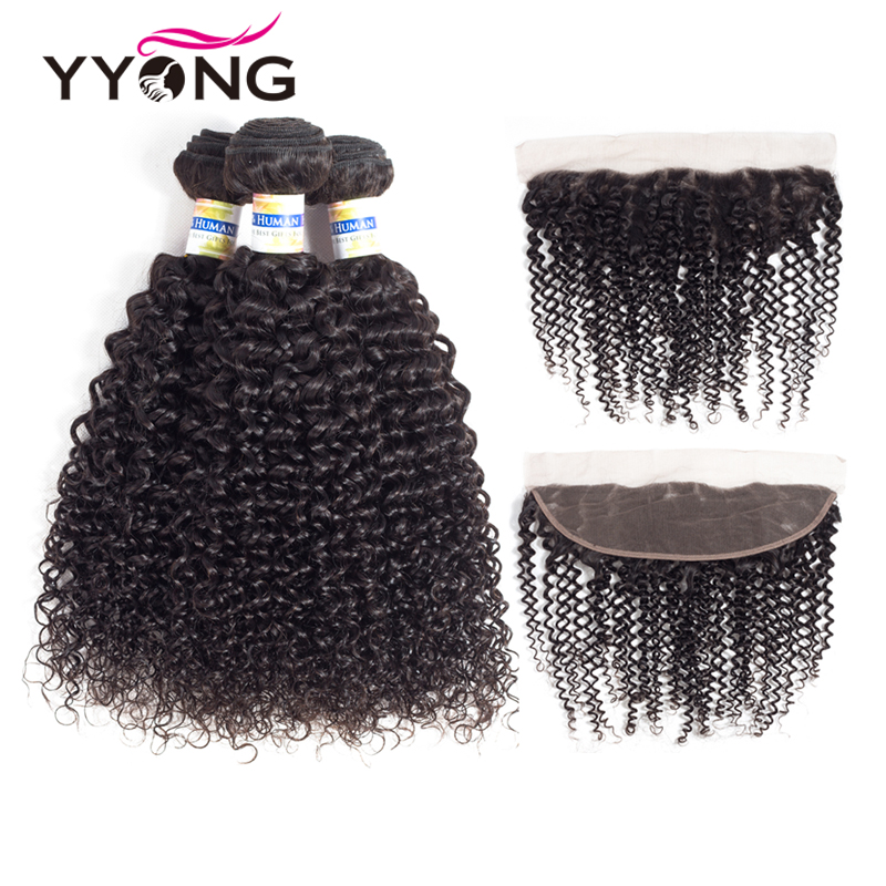 Yyong Brazilian Curly Wave 3 Bundles With Lace Frontal Non-Remy Human Hair Natural Black Bundles With Closure Lace Frontal