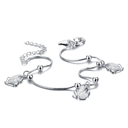 Hot sale  925 pure silver Anklets Korean version of the matte bead fine Anklets