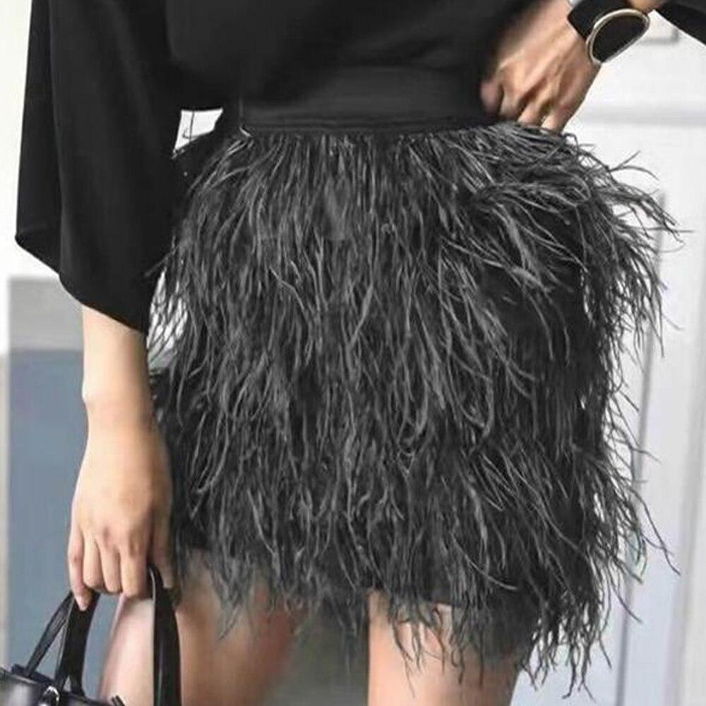 KoHuiJoo automne hiver femmes autruche plume jupe Mini noir vert rose mode dame jupes courtes gland couche adulte jupe