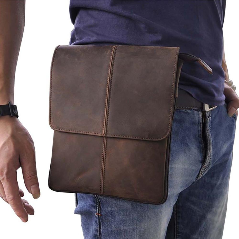 Crazy Horse/Oil Wax Genuine Leather Shoulder Bag For Men Casual Messenger Bags Male Hip Bum Loops Belt 9 Inch Fanny Waist Pack