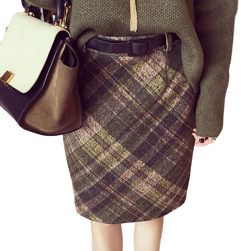 Women s Plaid Skirts font b Tartan b font Woolen Plaid Skirts Kilt Winter Wool Vintage