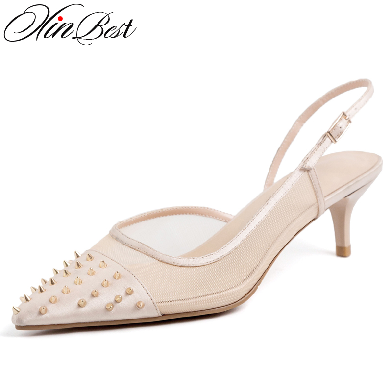 Contemplative Xinbest Fashion Rivet Women Sandals Pointed Toe Thin Heels Sexy High Heel Sandal Shoes Party Dress Buckle Sandalias Mujer 2019 Women's Shoes High Heels