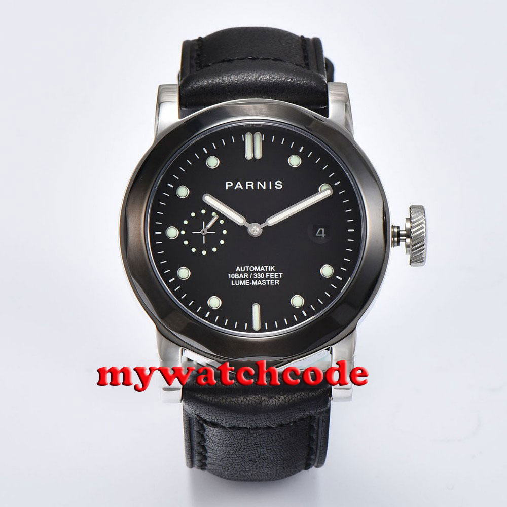 44mm Parnis black dial Sapphire glass ST 2530 Automatic Mens Watch P708 44mm parnis black dial red gmt sapphire glass st automatic mens watch p777