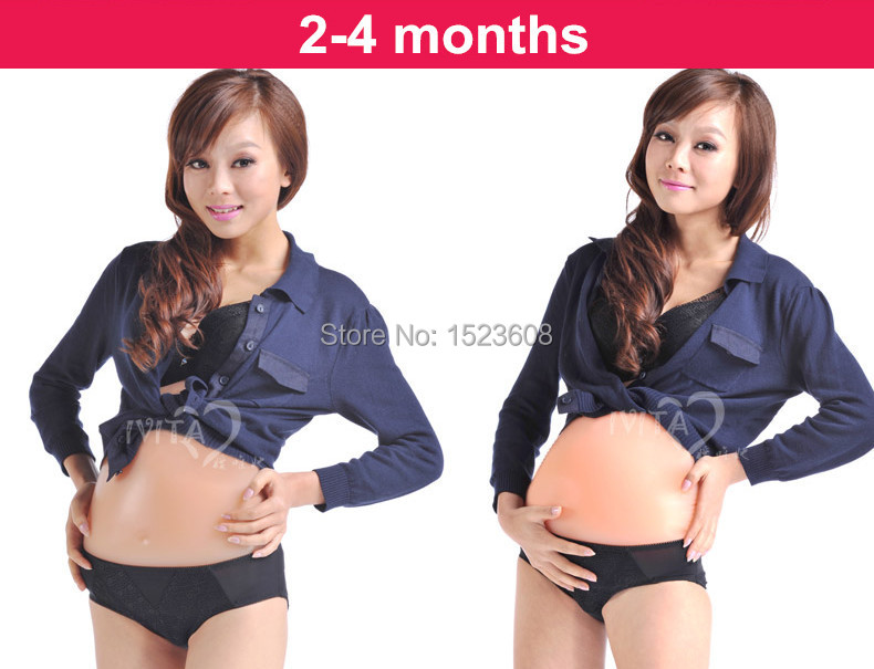 3-4months Artificial Baby Tummy Silicone Belly Fake Pregnancy,Pregnant Belly Fake Pregnancy Retail beautiful ocean