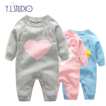 Winter Overalls for Newborn Baby Boys Romper Girls Fall Jumpsuits Love Wool New Year Costume Toddlers Girl