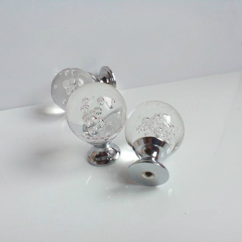 30mm 40mm Glass Bubble Crystal Drawer Cabinet Knobs Pulls Silver Chrome  Dresser Door Handles Knobs Modern Fashion Furniture Knob