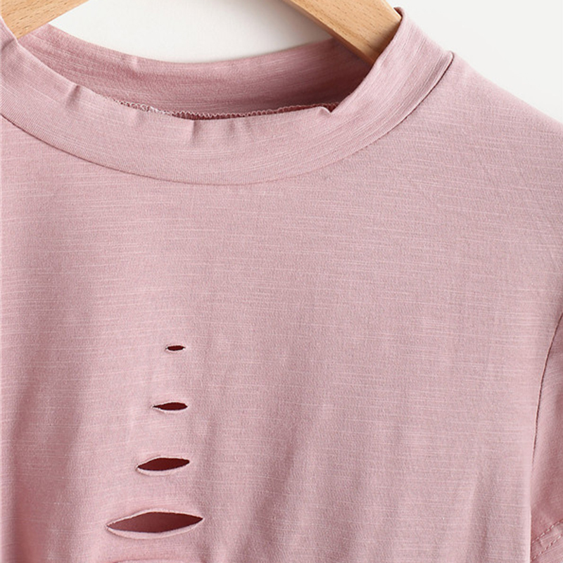 HTB13f23QVXXXXbkapXXq6xXFXXXB - Pink Ladder Ripped Short Sleeve Round Neck Crop Tee PTC 334