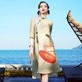 A10zq389 wholesale 2017 nuevo resorte de la ropa de seda de gama alta de las mujeres de lino cheongsam dress impreso seda dress
