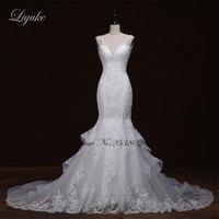 Liyuke J295 Chic Lace Chiffon Sweetheart Mermaid Wedding Dress Sweet 16 Appliques Illusion 2 In 1