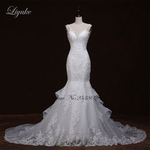 Liyuke J295 Chic Lace Chiffon Sweetheart Mermaid Wedding Dress Sweet 16 Appliques Illusion 2 In 1 Gowns Lengan Penuh Pengantin Pakaian