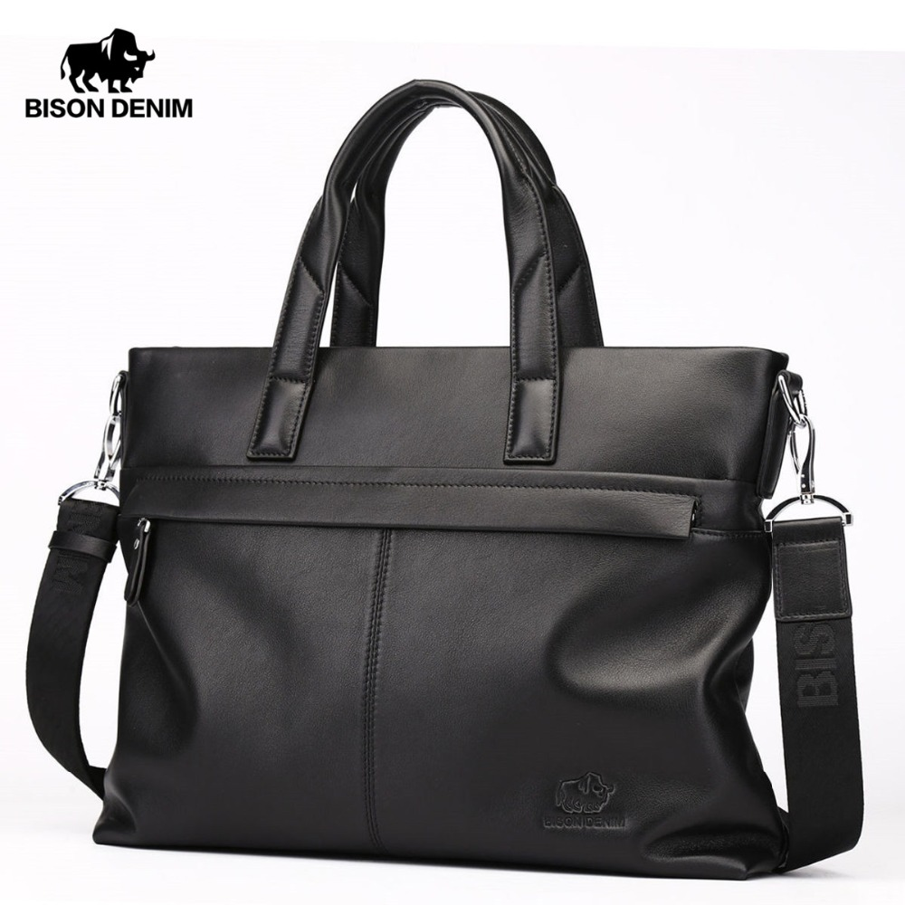 "BISON DENIM Genuine leather Briefcases Men 14"" Laptop Large Capacity Handbag For Men Male Business Messenger Shoulder Bags N2375-in Briefcases from Luggage & Bags    1"