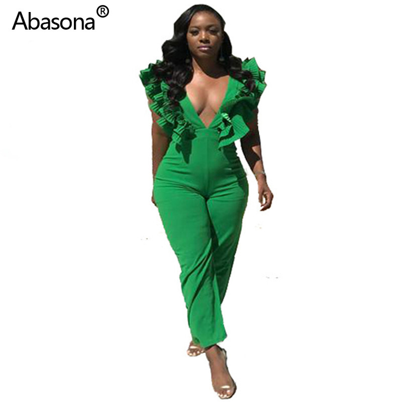 Abasona New Solid Deep V-neck Butterfly Sleeve Casual Skinny Full Length Jumpsuit  Rompers Womens Jumpsuit for Party and Club(China)