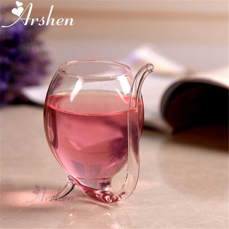 Arshen Especial 300 ml Vinho Tinto Café Caneca com Palha Resistente Ao Calor de Chá de Leite Bebida Caneca Drinkware Transparente Ofício Perfeito presente