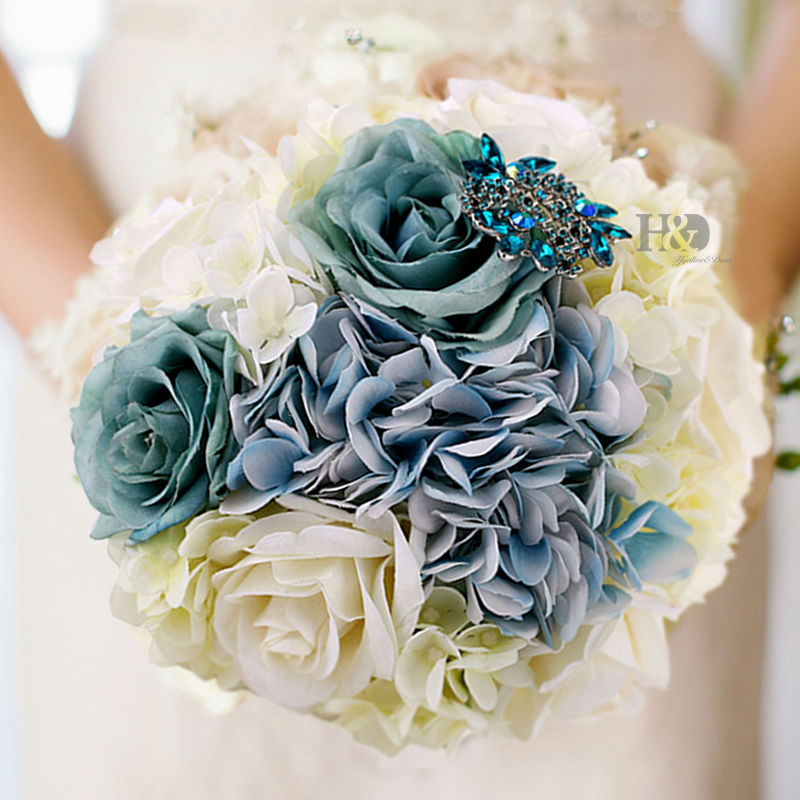 2016 Wedding Fabric Bridesmaid Bouquet Artificial Roses Flowers ...