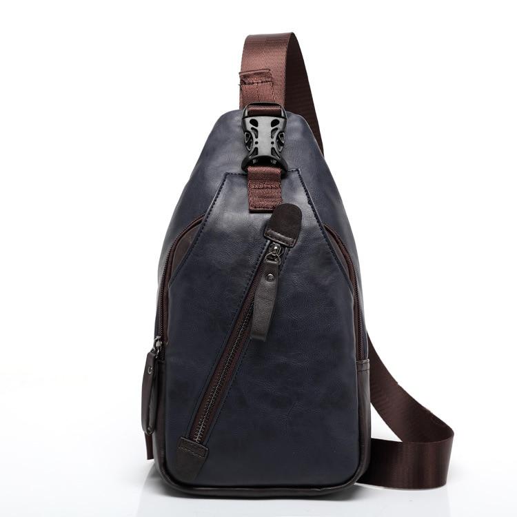 ETONWEAG Brands Cow Leather Money Belt Bag Men Travel Bags Blue Vintage Zipper Crossbody Chest Bags Organizer Casual Fanny Pack
