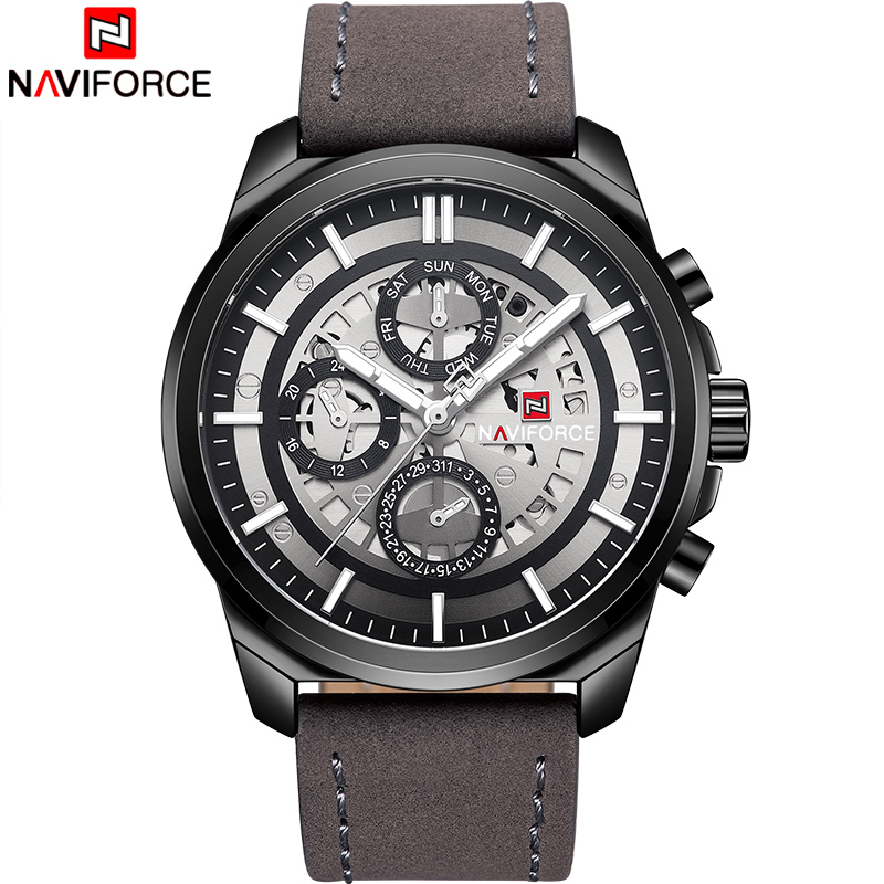 NAVIFORCE Mens Watches Top Luxury Brand Sport Watches Analog 24 Hour Quartz Men Watch Waterproof Leather Military Wrist Watch cocoshine a 693 high quality luxury men s watches analog quartz faux leather sport wrist dress watch wholesale free shipping