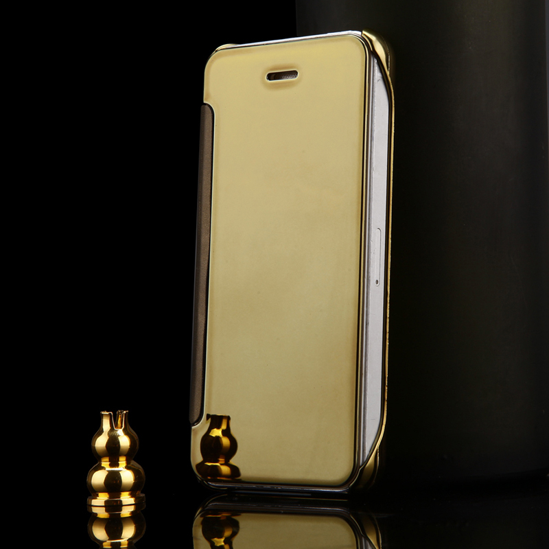 2015 lyxigt klart spegelfodral för iPhone 5 5S 5G Flip Smart Phone - Reservdelar och tillbehör för mobiltelefoner - Foto 2