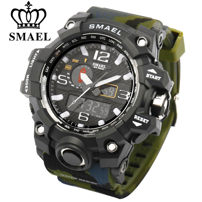 SMAEL Men Military Watch Dual Display Wristwatches Man Clock Sport Watches Male Multiple Styles Watch Designed for Dropshipping