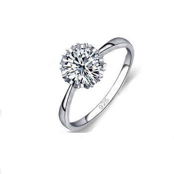 High Quality 925 Sterling Silver Fine Jewelry Classic Engagement Ring 4 Size AAA CZ  Ring For Woman  Free Shipping
