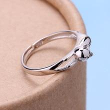 YimYik 1 pcs fashion rings Cute cat female silver ring for women gifts Wedding jewelry high quality