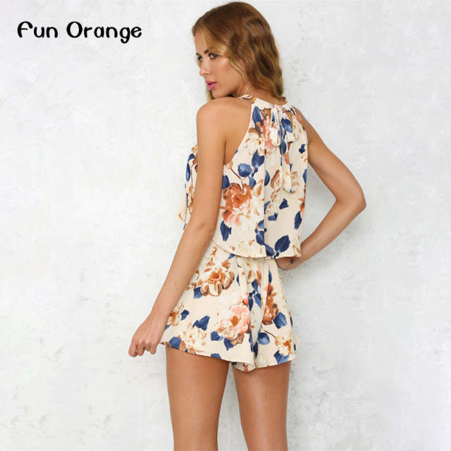 d4ef5f59a4 Fun Orange Halter Ruffle Women Jumpsuit Romper Sexy Off Shoulder Linning  Floral Elegant Playsuit Summer Beach