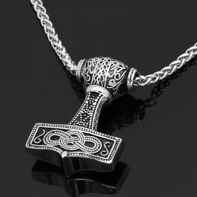 STAINLESS STEEL VIKING NORDIC THOR HAMMER NECKLACE