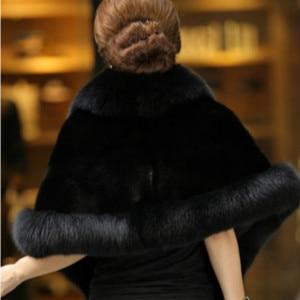Image 4 - 2019 נשים החורף מקרית אירוע לעטוף כלה לעטוף מעילי החורף חם פו פרווה חתונת מעיל