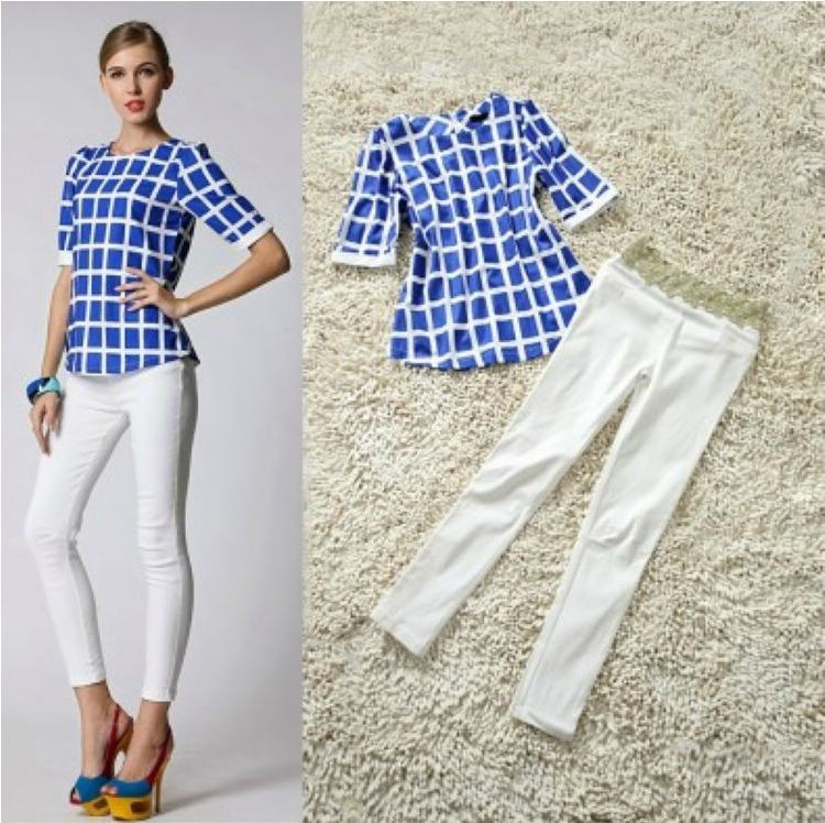 Woman's Suit Set 2015 New Fashion High Quality Hot Blue White ...